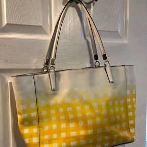 Coach Bags - Coach Gingham Madison North/South Leather Tote
